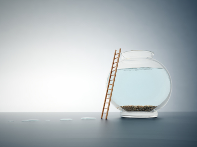 Empty fishbowl with a ladder - freedom concept illustrating liberty from debt bondage